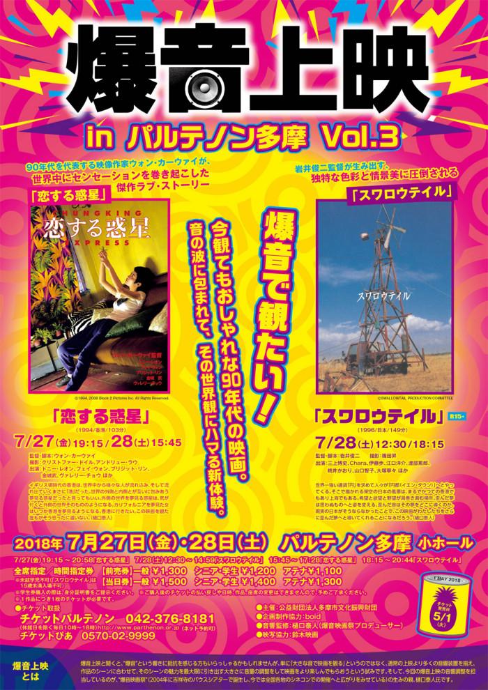 7/27(金)-28(土)「爆音上映 in パルテノン多摩 Vol.3」開催!